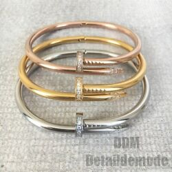 Bracelet Clou Luxe Strass Argent Or Or Rose Love Bracciale Nail