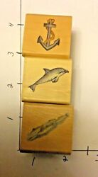 Lot Of 3 Marine/nautical Rubber Stamps - Dolphin, Anchor And Fish