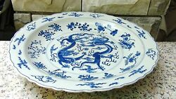 Antique19c Chinese Large Blueandwhite Porcelain Dragons Fighting For Pearl Charger