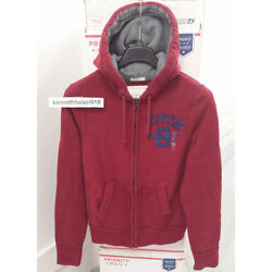 Abercrombie And Fitch Mens Elk Lake Hoodie Sweatshirts Dark Red Size Small
