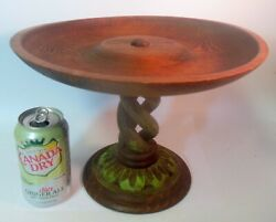 Vtg Carved Wood Compote Tazza Centerpiece Bowl Twist Helix Pedestal