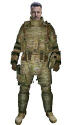 Set Of Body Armor Gear Protection Tactical Vest And Pad Elements Multicam
