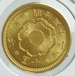 Japan Old Gold Coin New 10 Yen Coin 1909 Meiji 42 Unused Official Certificate