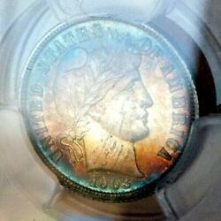 Barber Dime 1903 Pcgs Pr63+++++ Monster Dual Sided Rainbow Shocking Coin