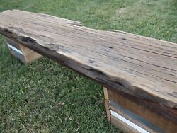 Reclaimed Barn Wood Primitive Antique Salvaged Barn Beam Bench Cube Base Legs