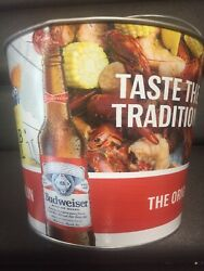 Lot Of 12 Budweiser Ice Bucket Party Cold Beer Holder Mancave Decor Bud N Boil