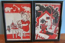 Vtg wall decor Picture TOPSY TURVEY AND THE TIN CLOWN Baby Room Wall Art 7x5