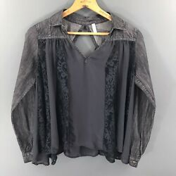 Free People Womens Blouse Top Shirt Denim and Sheere Long Sleeve Layering Small