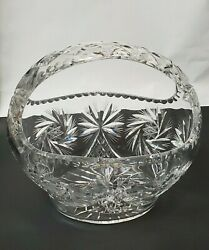 Vintage Rare Large Cut Crystal Oval Basket Intricate Design Collectible Glass