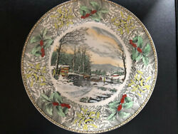 Winter In The Country Lithograph- Made In England For B.altman And Co.nyc-