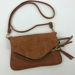 UNDER ONE SKY  Cognac Faux Leather Cross Body BagEmbossed Gold Detail Tassels $24.99