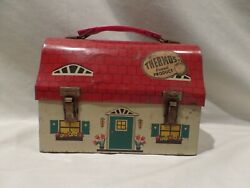 Vintage 1958 Domed Dutch Cottage Metal Lunch Box By Thermos