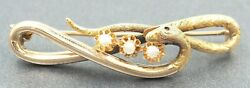 Vintage Pearl Snake Style Womens Brooch Claw Set  9ct Yellow Gold Fine Jewelry