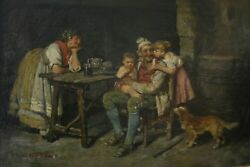 Antique Original Oil Painting By John Edmund Califano - Peasant Family At Home