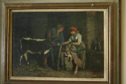 Antique Original Oil Painting By John Edmund Califano - Two Women And A Calf