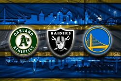 Oakland Sports Poster Golden State Warriors Oakland Raiders As 16x20in Free Ship