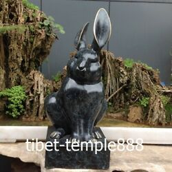 51 Cm Western Art Deco Pure Bronze Painted Rabbit Hare Animal Abstract Sculpture