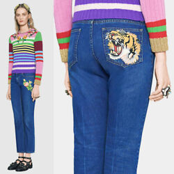sz 32 NEW $995 GUCCI Blue Wash TIGER & FLOWER PATCH Flared Leg LOW RISE JEANS $295.00