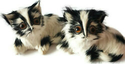 Black White Kittens Cat Lovers Shelf Sitters Figurines Rabbit Fur Collectibles