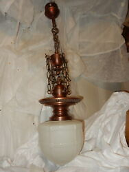 Ca. 1920's Cast Bronze And Brass Fixture Pendant W/ Embossed Milk Glass Shade