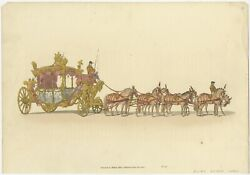 Antique Print Of The State Carriage Of George Iii By Miller 1805
