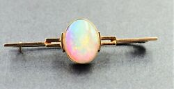 Women's 9ct Gold Opal Bar Brooch Vintage Collectable Fashion Jewellery