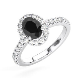1.50ct Pave Set Round Cut Diamond And Oval Black Wedding Ring In 18k White Gold