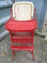 Vintage Labeled Heywood Wakefield Antique Wicker/wood Childs Baby High Chair