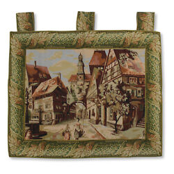 Antique Large Italian Town Scene Art Wall Hanging Vintage Tapestry 44quot;x37quot;