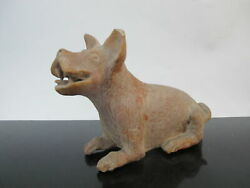 Primitive Chinese Clay Tomb Animal Burial Statue Figurine Happy Dog