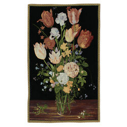 Antique Chenille Vase Art Wall Hanging Vintage Tapestry 27quot;x42quot;