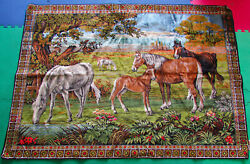 Vintage Large Tapestry Wall Hanging Forest Horse Scene Carpet Pamp;C Made In Italy