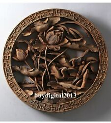 Camphorwood Lucky Lotus Red-crowned Crane Wall Hanging Wood Tablet Plaque Board