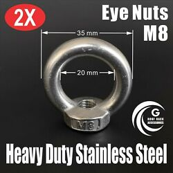 2x M8 Eye Nuts Heavy Duty Stainless Steel Lifting Roof Rack Boat Shade Sail 8mm