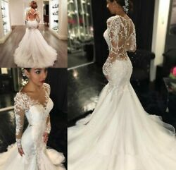 Mermaid Sheer Long Lace Appliques Sleeves See Through Gown