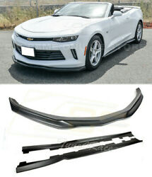 For 16-18 Camaro Lt Ls Rs Abs Side Skirts And Front Bumper Lip Splitter T6 Style