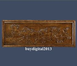 Camphorwood Auspicious Eight Horses Steed Wall Hanging Wood Tablet Plaque Board