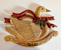 Wood Carved Christmas Goose Wall Hanging Decor Primitive Country Farm Rocking