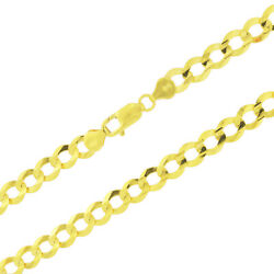 14k Yellow Gold 8mm Mens Solid Curb Cuban Chain Necklace Lobster Clasp 20- 30