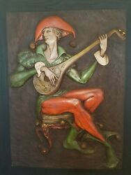 """""""jester And The Mandolin """" Hanging Mid Century Wall Sculpture - Awesome"""