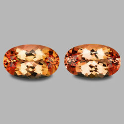 4.78cts Elongated Oval Cut Natural Sunset Orange Imperial Topaz Pair Watch Video