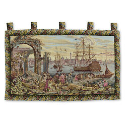 Large Art Wall Hanging Vintage Tapestry 51quot;x36quot; Antique Victory by the Harbor