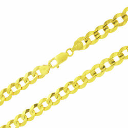 Authentic 10k Yellow Gold Solid 10mm Mens Cuban Curb Chain Link Necklace 24-30