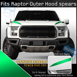 For 2015-2020 Raptor F150 Hood Spears Outer Stripe Decals - Satin Matte Chrome