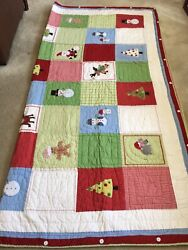 Pottery Barn Christmas Patchwork Quilt Full/queen 84x84 And Pair Pillow Shams Set