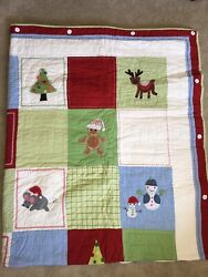 Pottery Barn Christmas Patchwork Twin Size Quilt Blanket Bedding And Pillow Sham