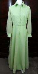 Vintage Coco California Green Dotted Swiss Dress Size 10 60s Mod Maxi Polka Dots