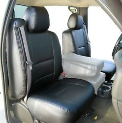 CHEVY SILVERADO 2003 2006 BLACK S.LEATHER CUSTOM MADE FIT 2 FRONT SEAT COVERS $159.00