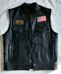Unik Select Heavy Black Leather Motorcycle Vest Patches Holster Pockets Medium