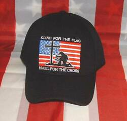 Stand For The Flag Kneel For The Cross Embroidered Black Military Ball CapHat.